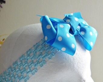 Blue Headband, Polka Dot Hair Accessory, Crochet Elastic Headband, Girls Headband, Gift for Girls, Toddlers to Teens Headband