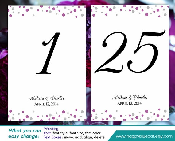 diy printable table number card template instant download