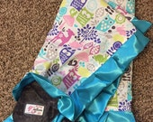 READY-TO-SHIP Owls Cotton, Minky Dot & Satin-Edged Blanket, Baby or Toddler Blanket