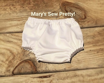 White Cotton Diaper Cover, Girl or Boy Bloomers,Baptismal/Christening bloomers, Weddings, Photos