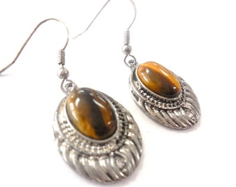 Vintage Tiger Eye Teardrop Dangle Earrings Oval Drop Costume Jewelry Women's Retro Fashion Accessories