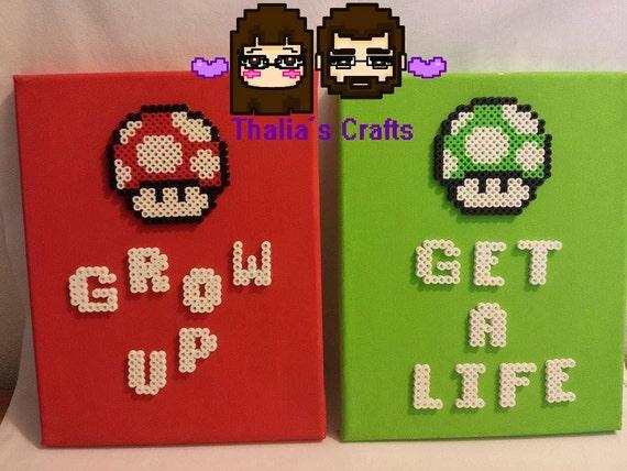 Get A Life/ Grow Up Canvas Mario Mushroom Themed videogame