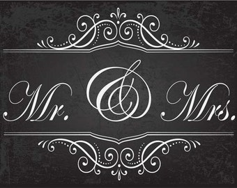 Mr and Mrs Metal Sign, Wedding, Love, Anniversary, Gift, HB7047