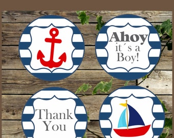Nautical Baby Shower Printable Favor Tags, Baby Shower Decoration, Instant Download, Navy Blue and Red Cupcake Toppers