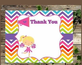 Cheerleader Printable Thank You Card, Instant Download, Thank You  Girls Birthday Party, RAINBOW Cheerleader Party