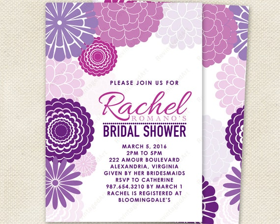 Purple Flower Bridal Shower Invitation : Purple bridal shower invitation with mod floral design