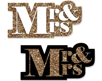 24 pc. Small Mr. & Mrs. - Gold Shaped Paper Cut Outs - Wedding Die Cut Party Decoration Kit
