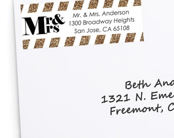 Mr. and Mrs. - Gold Address Labels - Personalized Return Address Stickers - Wedding Party Supplies - 30 Count