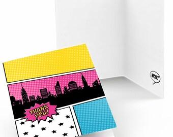 Set of 8 BAM! Girl Superhero Thank You Cards - Party Supplies