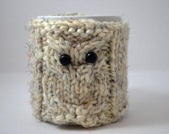 Off White OWL mug Cozy with Mustache Mug