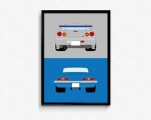 2 Fast 2 Furious - Brian's Nissan Skyline and Chevrolet Camaro Z28 SS A3 Print