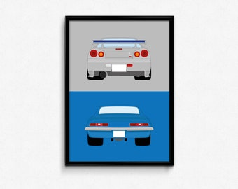 2 Fast 2 Furious - Brian's Nissan Skyline and Chevrolet Camaro Z28 SS A3 Print