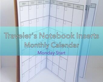 Monthly Planner -- No Grid {Standard Size} Printable Traveler's Notebook Insert Booklet // Monday Start