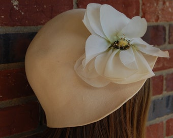 1970s Betmar Cloche Felt Hat with Side Flower