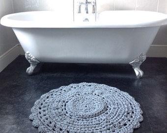 Crochet Rug, Handmade Rug, Bespoke Rug, Grey Rug, Circle Rug, Area Rug, Round Rug, Textile Rug, Yarn Rug, Modern Rug, Bedroom Rug, Rug