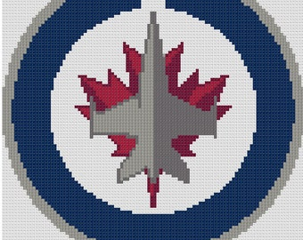 Counted Cross Stitch Pattern, Winnipeg Jets NHL Logo, Instant Download, PDF Pattern, Hand Designed by Dueamici