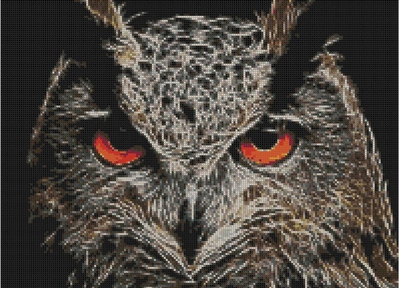 Counted Cross Stitch Pattern, Fractal Owl, Owl, Fractal Cross Stitch, Paper Pattern or Complete Kit