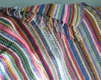 Baby blanket, small afghan, throw, lap blanket, crochet, multi colored,