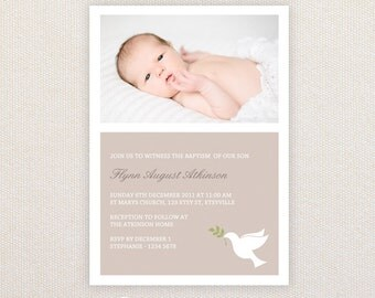 Photo Christening/baptism Invitations. Neutral Dove design. I Customize, You Print.