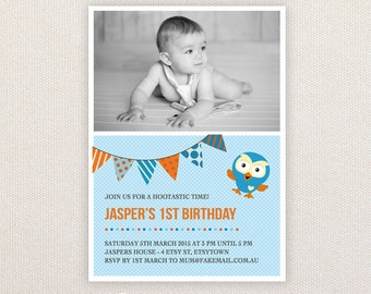 Photo Birthday Party Invitations. Hoot the Owl. I Customize, You Print.