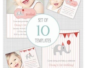 INSTANT DOWNLOAD: 10 PSD girls invitation templates. Mini Pack 2. Party Elephants.
