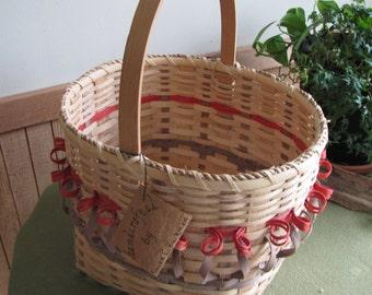 Hand Woven Tulip Basket, Susan E. Beckman Artist Iowa, Flower or Vegetable Trug