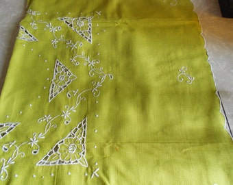 Vintage Green Card Table Tablecloth with Matching Napkins
