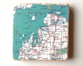 1970s Grand Traverse MI Map Coaster