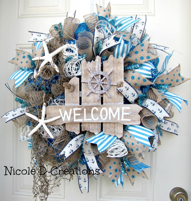 deco mesh wreath summer wreath ocean wreath by nicoledcreations. Black Bedroom Furniture Sets. Home Design Ideas
