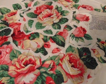 Applique, Fabric Pieces, Wearable Art, Pattern, Chic Cabbage Rose, Cranston, Cotton Polished Fabric Country Elegance