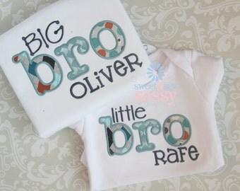 Big Little Bro Sibling Set Applique Shirt