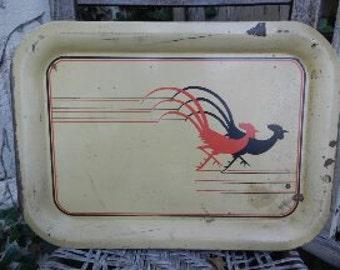 Vintage Rooster Metal Tray!