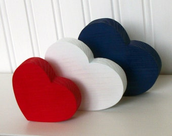 Red White Blue Wooden Hearts - Home Decor - Wood Heart Set of 3