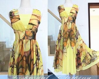 yellow flower long dress summer sleeveless chiffon dress women clothing women dress slim fit dress nice quality