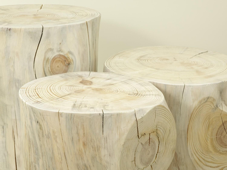 set of 3 white tree stump table wood trunk set wei baumstumpf baumstamm tisch sgabello ceppo di. Black Bedroom Furniture Sets. Home Design Ideas