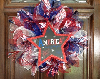 Fourth of July Fireworks Deco Mesh Wreath