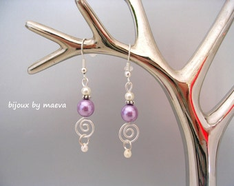 wedding bridal jewelry earrings pearl purple / lilac and silver spiral