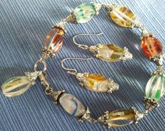Venetian Lanterns, Bracelet and Matching Earrings