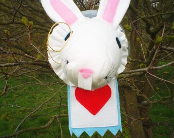 Handmade Alice in Wonderland White Rabbit of hearts Feltsidermy Faux Taxidermy head, vegan