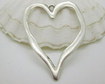 Large Rustic Silver Heart Pendant