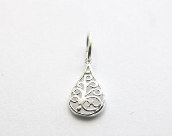 Genuine 925 Sterling silver filligree drop pendant charm bead fits on most european bracelet