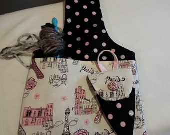 Wristlet Knitting Bag, sock knitting bag, Paris Fabric, knitting bag, crochet pouch bag, wristlet sock bag