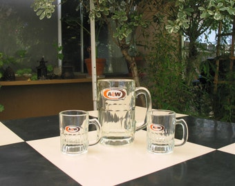 Vintage A&W Glass Mugs Set of Three