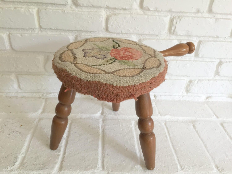 shabby chic wool rug footstool vintage rug hooked stool. Black Bedroom Furniture Sets. Home Design Ideas