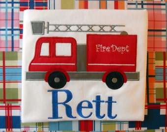 Personalized Firetruck applique shirt/onesie