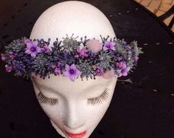 Purple floral Crown purple Flower crown Wedding crown Floral headband fairy crown Wedding Crown Coachella headband