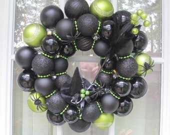Halloween Ornament Wreath, Black and Lime Witch Wreath