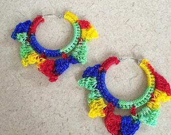 Multicolored Crochet Earrings