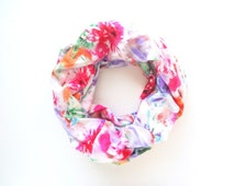 Floral Scarf, Printed Infinity Scarf, Spring Scarf, Colorful Scarf, Rayon, Tropical Print Scarf