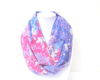 Floral Scarf, Pink & Purple Scarf, Fall Infinity Scarf, Women's Circle Scarf